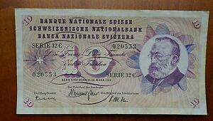 Switzerland 1963 10 Franc Banknote