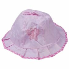STYLISH PINK/MAUVE BUTTERFLY BABY GIRLS SUMMER BUCKET WASHABLE COTTON SUN HAT