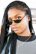 Black Slim Edgy Vintage Rare1990s Tiny Frame Sunglasses Green Lens - Khloe