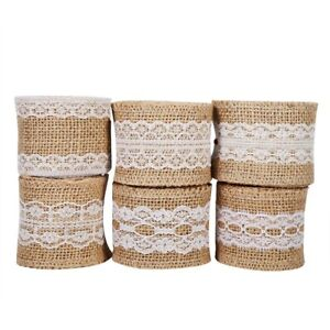 Natural Jute Burlap Ribbon With White Lace Rustic Style Wedding Party Practical