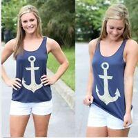 fashion Women Summer Anchor Vest Top Sleeveless Blouse Casual Tank Tops T-Shirt