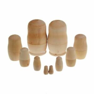 5X Blank Wooden Embryos Russian Nesting Dolls Toy Unpainted Home Gift GB