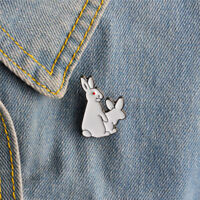 Dibujos animados lindo dos conejos blancos EvilBrooch Jeans ropa joyas mujere~QA