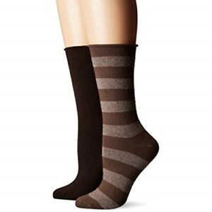 Hue Women's Socks 2 pair Tweed Stripe Boot Socks OR Mini Rugged One Size