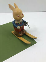 Vintage Wind Up Tin Litho Bunny on Skis JAPAN Working Condition TOY