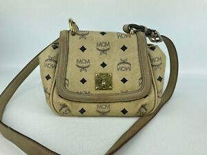 100% Authentic MCM Visetos Beige Small Crossbody Bag With Dust Bag