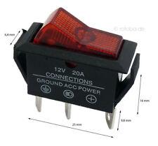 Beleuchteter Wippschalter rot 12V 20A EIN-AUS Schalter Lichtschalter #5593
