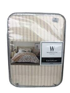 Wamsutta Sutton Vintage Coverlet Striped Textured Matelasse Blush King $150