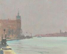 "ORIGINAL MICHAEL RICHARDSON ""Snow in the air Giudecca"" Venice italy OIL PAINTING"
