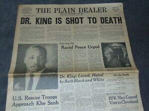 APR. 5, 1968 CLEVELAND OHIO NEWSPAPER: MARTIN LUTHER KING ASSASSINATED