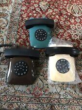 Lot Of 3 Telequest Telephones Green,brown, Cream