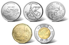 2017 Canada 5-cent, 10-cent, 25-cent, $1.00 & $2.00 Coins from Mint Rolls
