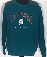 Miami Dolphins NFL Football Team Embroidered Logo Large L Pullover Sweatshirt
