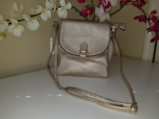 NWT Champagne Gold Soft PU Leather Flap Bag Cross Body Shoulder Purse $50