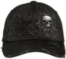 Spiral SKULL SCROLL Baseball Caps Distressed with Metal Clasp/Biker/Bones/Gothic