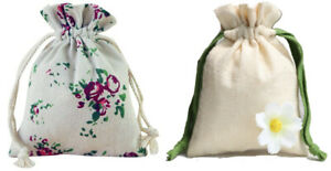 Fabric Jewellery Gift Bags Drawstring Pouch Cotton Linen Flower Pattern