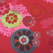Stoff Baumwolle Blumen Mandala rot pink petrol Ornament aus Frankreich