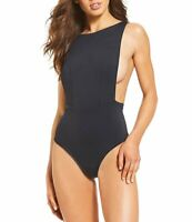 ROXY Softly Love Solid Scoop Back High Neck One-Piece Anthracite Swimsuit SMALL