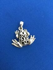 Adorable Sterling Silver Fancy Frog Charm Pendant