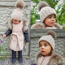 Beanie Warm Knitted Bobble Fur Pompom Hat and Scarf Set Children Real Raccoon