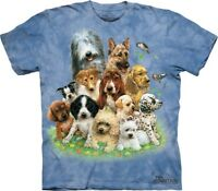 The Mountain Puppies in Grass Dogs Blue Cotton Tee Shirt Animal T-Shirt S-3XL