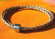 Antique Beige double-wrap leather & steel European charm bracelet - Lyme Bay Art