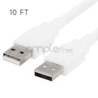 USB 2.0 10FT Cable Type A Male to Type A Male Cable White Cord