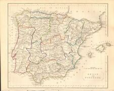 1840 ANTIQUE MAP- SPAIN AND PORTUGAL