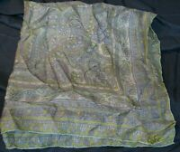 "ECHO VINTAGE SILK SCARF Pale Green Lavender OLD FASHIONED PRINT 22"" Square"