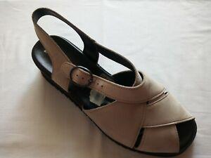 Naturella Damen Sommer Schuhe Sandalen Gr.40 Leder bequem beige Keilabsatz