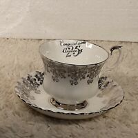 Vintage Royal Albert Bone China Silver 25th Anniversary Tea Cup & Saucer England