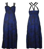 Express Blue Black Maxi Cheetah Leopard Cross Straps Dress Size XS