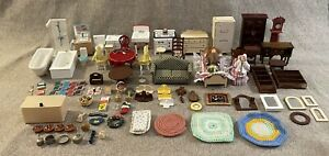 Large Lot Of Doll House Plastic & Wood Furniture Plus Lots Of Access + 2 Dolls