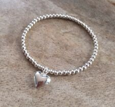 Simple Silver Ball Plated Beaded Heart Charm Stretch Bracelet Bangle HANDMADE