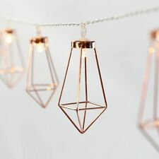 10ft Metal String Lights - Rose Gold Geometric Diamond Lantern Fairy UK Stcok