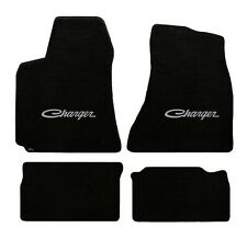 NEW! BLACK FLOOR MATS 1966-1967 Dodge Charger Script Embroidered Logo Silver 4pc