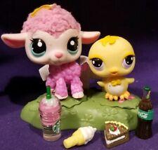 Littlest Pet Shop Cutest Pets Pink Lamb  2420 Yellow Chick Purple Eyes 2419 RARE