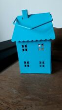 Small Blue  House Lantern T-Light Holder outside or indoor