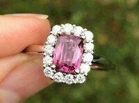 2.49Ct Cushion Pink Sapphire Wedding Diamond Engagement Solid 14k White Gold