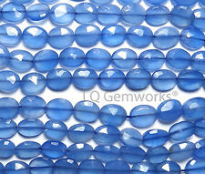 "13"" Blue CHALCEDONY 8-9mm Faceted Oval Beads"