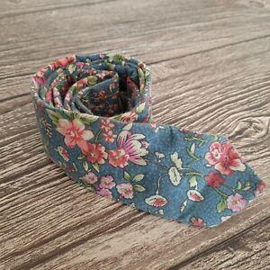 Topman Mens 100% Cotton Floral Flower Blue + Pink Skinny Slim Tie