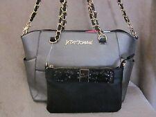 BETSEY JOHNSON BJ53105 Hidden Treasure Pewter Purse Handbag w/ Black Clutch NWT