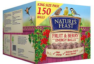 150 Fat Balls, Nature's Feast Fruit and Berry Energy Balls, Bird Food