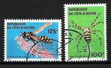 Insectes Côte d'Ivoire (8) série complète de 2 timbres oblitérés