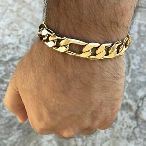 """Men's 14K Gold Plated Figaro Hip Hop Bracelet 9"""" Inch x 12 MM Thick Wrist Chain"""