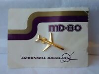 MD-80 Commercial Jet Airplane Tie Tack Lapel Pin McDonnell Douglas Gold Colored