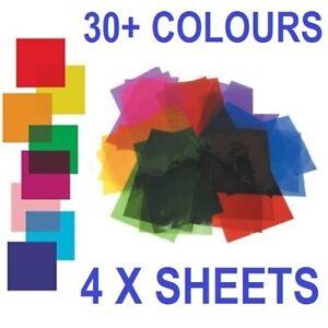"4 x Heat Resistant Colour Transparent Acetate Gel Sheet Crafts Lighting 30cm 12"""