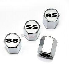 (4) Chevy SS Silver Logo Chrome ABS Tire/Wheel Air Stem Valve CAPS Covers