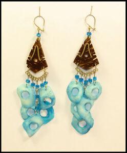 Paar Ohrringe Kokosnuss blau Ohrschmuck Ohrhänger Ethno Hippie Naturschmuck