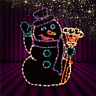 Snowman with Broom Christmas Winter Outdoor LED Lighted Decoration Wireframe